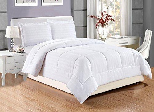 2 piece Luxury WHITE Dobby Stripe Reversible Goose Down Alternative Comforter set, TWIN / TWIN XL with Corner Tab Duvet Insert, Hypoallergenic, Plush Siliconized Fiberfill, Box Stitched