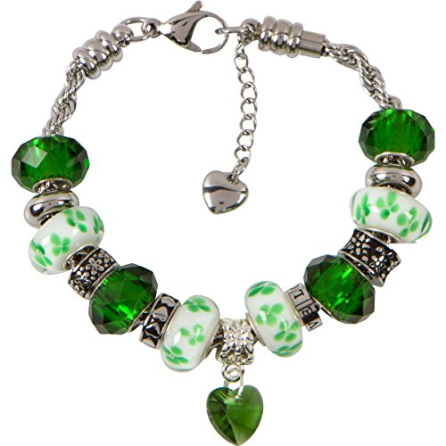 Heart Charm Bracelet With European Bead Charms For Women and Girls, Stainless Steel Rope Chain, Health 7.5 (Green Murano Glass Ring)
