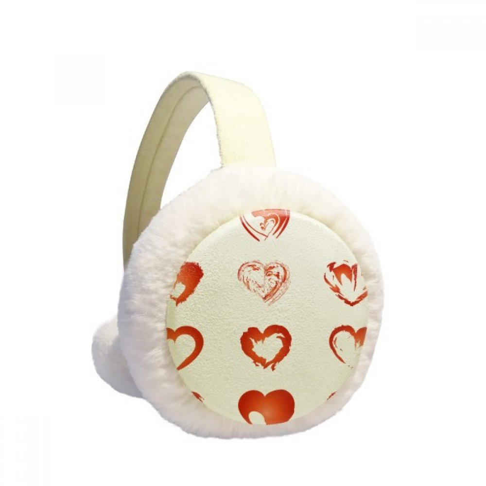 Valentines Day Hearts Red Sketch Winter Earmuffs Ear Warmers Faux Fur Foldable Plush Outdoor Gift