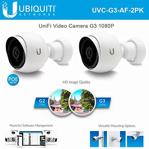 Ubiquiti Networks 2 Pack UniFi UVC-G3-AF 1080p Outdoor Day & Night Bullet Camera with Instant AF Adapter ()