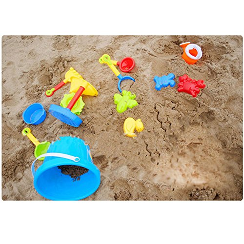 Sand Water Beach Play Toys 13pcs Playing Tools Baby Kids Sea Educational Toy Early Seaside Bucket Shovel Rake Kit Building Horse (Farm Tractor Deluxe Party Pack)