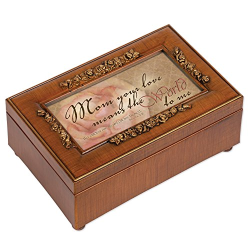 Cottage Garden Mom Your Love Means World Woodgrain Embossed Jewelry Music Box Plays Amazing Grace