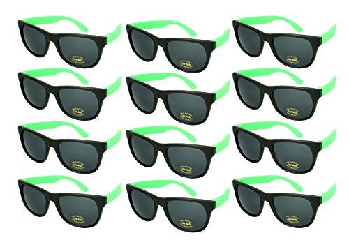 Edge I-Wear 12 Bulk 80s Party Sunglasses Neon Sunglasses for Adult Party Favors -