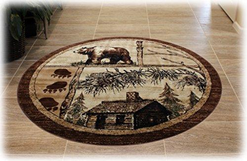 Lodge Cabin Round Area Rug Design 362 - (5 Feet 5 Inch X 5 Feet 5 Inch) Round