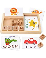 Coogam Spelling Games, Wooden Matching Letters Toy With Words Flash Cards, Alphabets Abc Learning Educational Montessori Puzzle Gift For Preschool Kids Boys Girls Age 3 4 5 Years Old