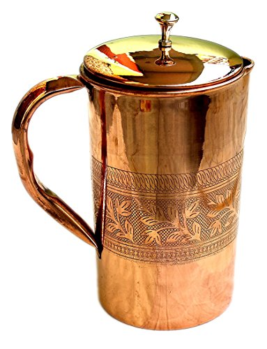 - Pure Copper Embossed Water Jug Copper Pitcher for Ayurveda Health Benefit Embossed Finished