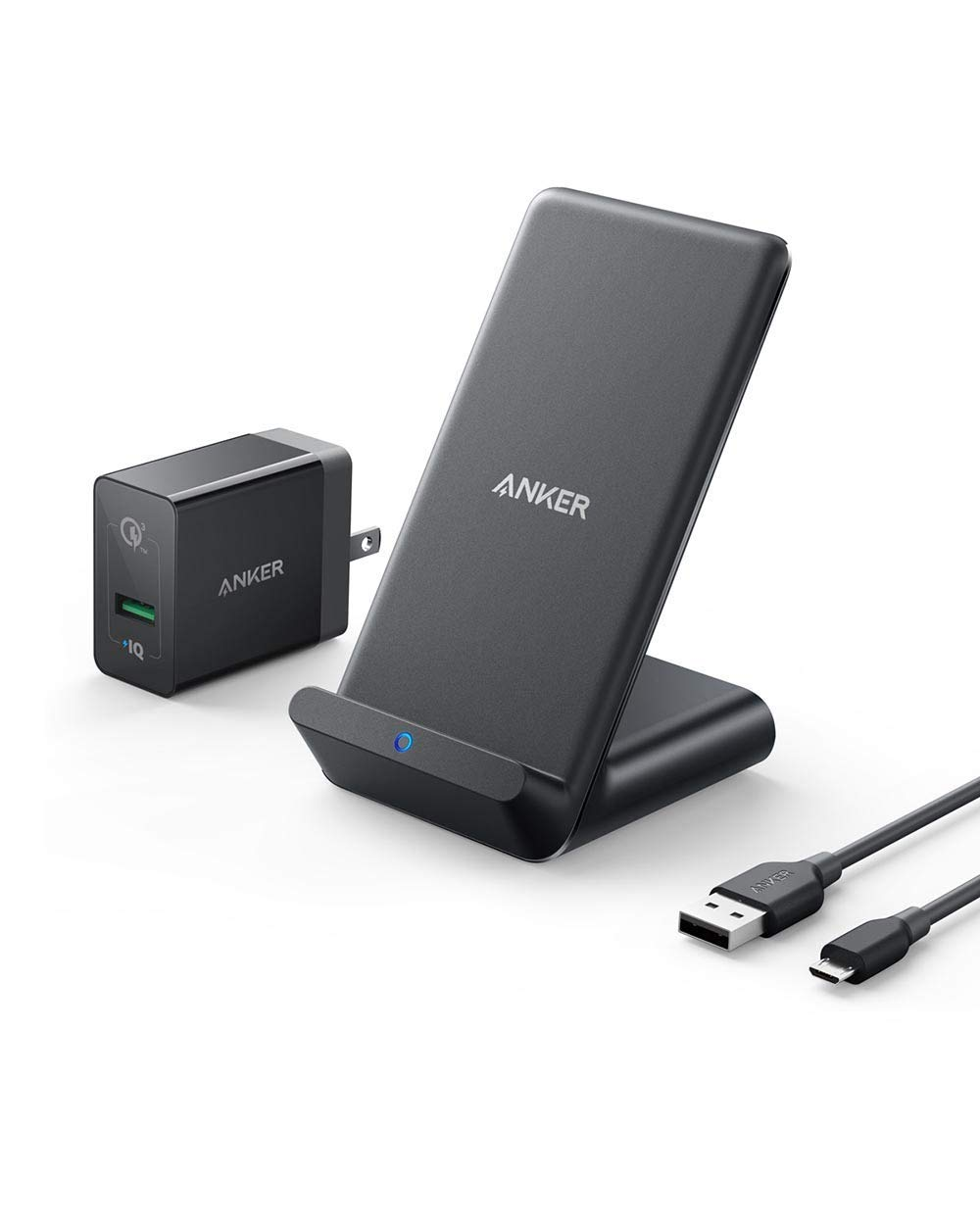 Anker PowerWave 7.5 Fast Wireless Charging Stand with Internal Cooling Fan, Qi-Certified, 7.5W Compatible iPhone XR/XS Max/XS/X/8, 10W Charges Galaxy S9/S9+/S8 (with Quick Charge Adapter) (Renewed)