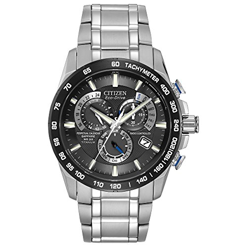 Black Dial Automatic Chronograph Watch - Citizen Men's Eco-Drive Titanium Perpetual Chrono Atomic Timekeeping Watch with Date,  AT4010-50E