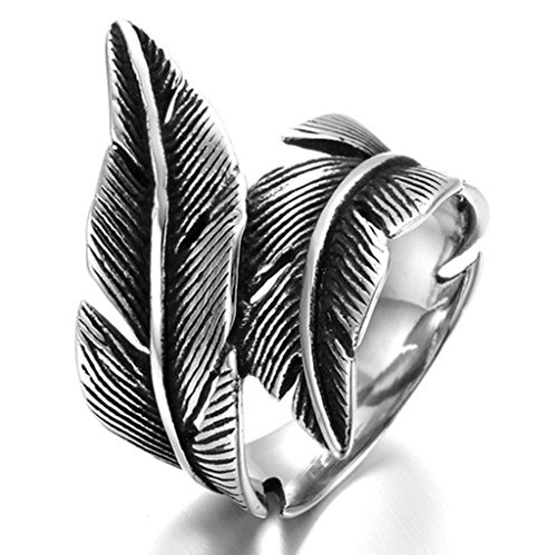 Alimab Stainless Steel Finger Rings Silver Black Feather Gothic for Men US Size - Around Me Macys