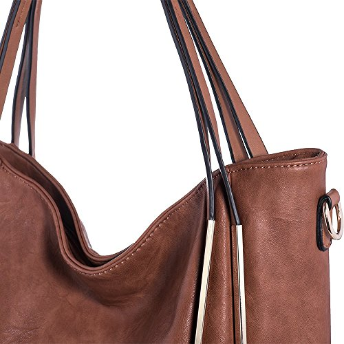 Women Handbags Ladies Satchel Bags for PU Handle Leather Purse Brown Tote Top JOYSON Shoulder Red q5UdwxC5