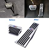 For BMW No Drill Gas Brake Pedal, Jaronx Anti-slip ///M Aluminium Alloy AT Accelerator Brake Pedal Cover (Fits: BMW 1 2 3 4 5 X1 X5 X6 Series) (Gas+Brake Pedals)