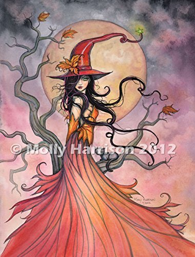Autumn Magic - Fine Art Halloween Witch Print by Molly -