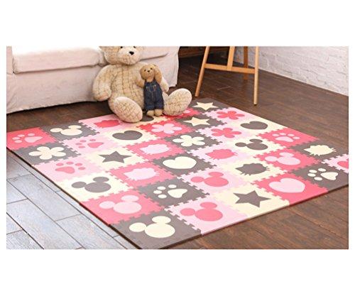 Tianmei 10 Stück Interlocking Soft-Kind-Baby-EVA-Schaum-Aktivität Spielmatte Boden Fliesen Pop-out-Puzzles, Beige amd Kaffee und Rosa und Rot Multi