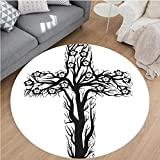 Nalahome Modern Flannel Microfiber Non-Slip Machine Washable Round Area Rug-l Christian Cross in Tree Shape Christ Religion Prayer Blessed Miracle Symbol Black White area rugs Home Decor-Round 71''