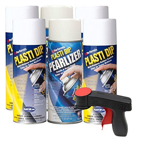 Plasti Dip Rim Kit: 4 Aerosol Cans White, 2 Aerosol Cans Pearlizer, 1 Cangun by Plasti Dip
