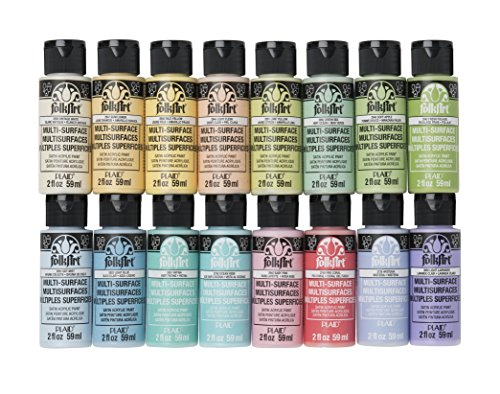 FolkArt Multi Surface Acrylic Paint Set 16 Piece PROMOMSP16 Pastel Colors