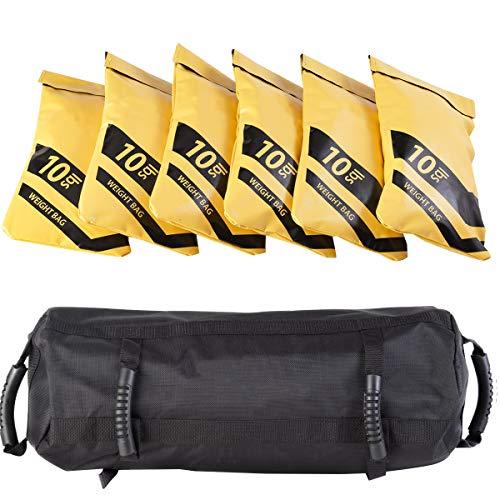 GYMAX Fitness Sandbag, 10 to 60 lbs Adjustable Workout Sandbag with 6 Rubber Handles, Heavy Duty Machine-Washable…