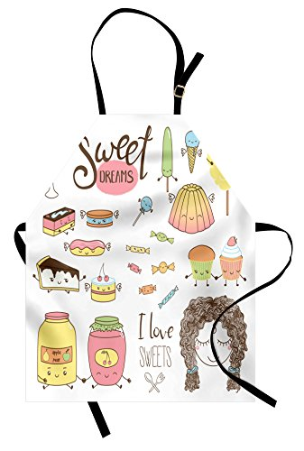Ambesonne Saying Apron, Teen Girl Dreaming About Sweets Food Doodle Characters Kawaii Cartoon Faces, Unisex Kitchen Bib with Adjustable Neck for Cooking Gardening, Adult Size, Pink Ivory