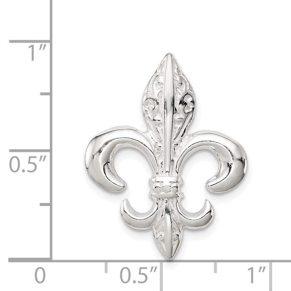 25mm x 19mm 925 Sterling Silver Fleur De Lis Slide