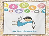 good bread alley - Baptism Decorations Fleece Throw Blanket Boy First Communion Writing Sign Grapes Chalice Bread Candle Fish Wings Artwork Throw