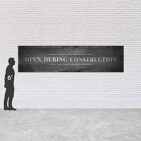 Open During Construction Chalk Burst Heavy-Duty Outdoor Vinyl Banner CGSignLab 12x3