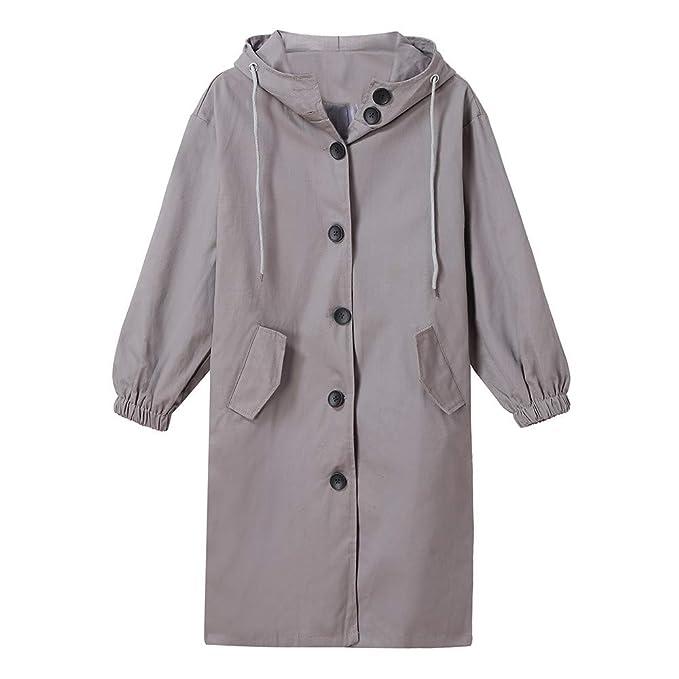 Logobeing Chaquetas Sudaderas Mujer Suelto con Capucha Salvaje Elegante Windbreaker Abrigo Cómodo Outwear (S,