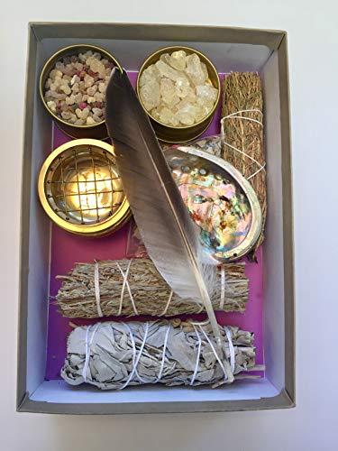 Sacred Scents For You Resin Incense & Smudge Variety Gift Set Includes, White Copal, 7 Archangels Blend, Benzoin & Palo Santo Resin, White Sage Smudge, Desert Sage, Altar Blend and Small Burner