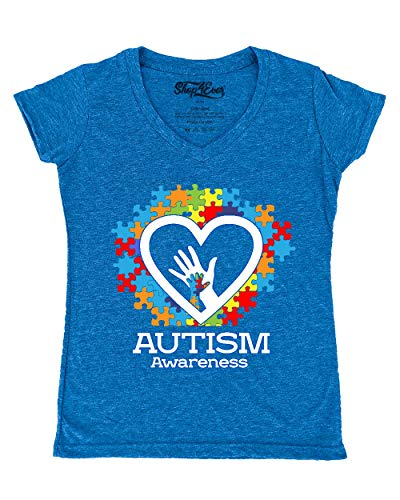 Shop4Ever Autism Awareness Hands in Heart Women's V-Neck T-Shirt X-Large Heather Royal Blue0
