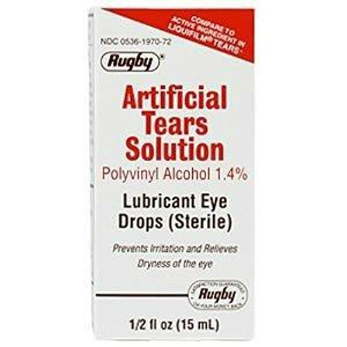 Artificial Tears Solution - Rugby Artificial Tears Drops, 0.5 Fl Oz Per Bottle