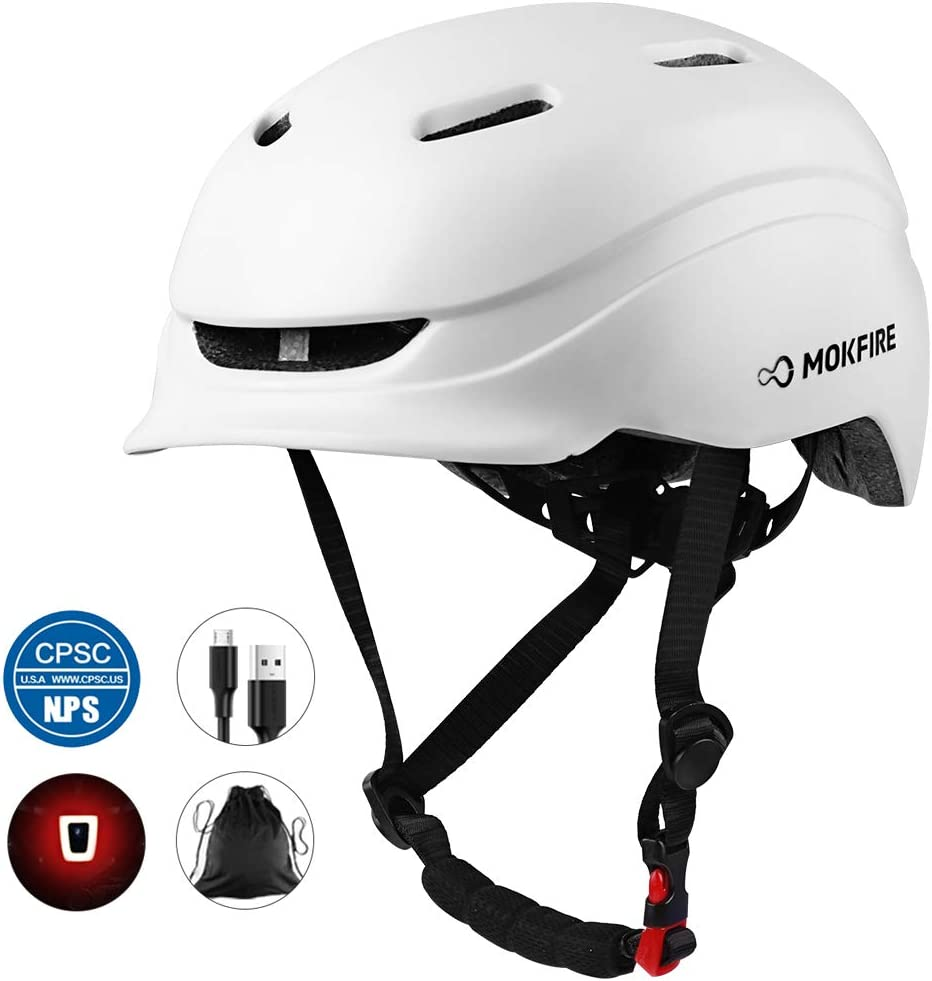 MOKFIRE Bike Helmet for Adults Men Women with Rechargeable USB Light, Bicycle Helmet CPSC Certified with Thick EPS Foam for Urban Commuter Cycling, Adjustable Size 21.65-24.41 Inches