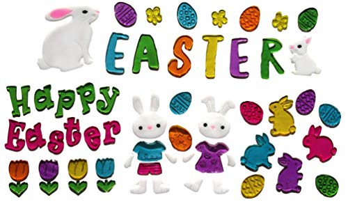 Happy Easter Window Cling Decorations - Bunnies, Chicks, Easter Eggs, More (Happy Easter - 4 Bunnies)