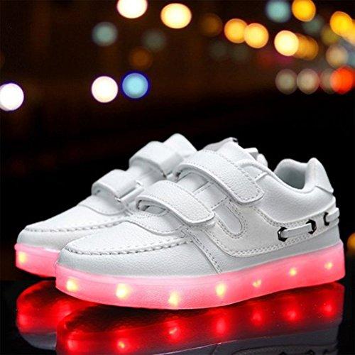 [Presente:pequeña toalla]JUNGLEST® Unisex 7 Colors USB Carga LED Luz Luminosas Flashing Sneakers Altotop Zapatos Zapatillas de Depo c32