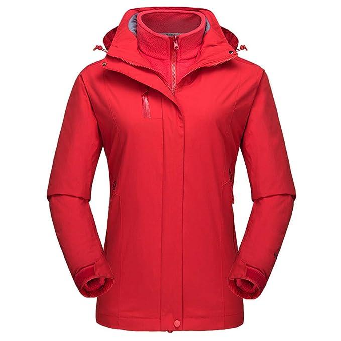 Chaqueta de Esquí para Mujer - Traje a Prueba de Viento Abrigo Transpirable Cazadora de Invierno Cálido 3 en 1 Ropa de Nieve Fleece Interno para Corriendo ...