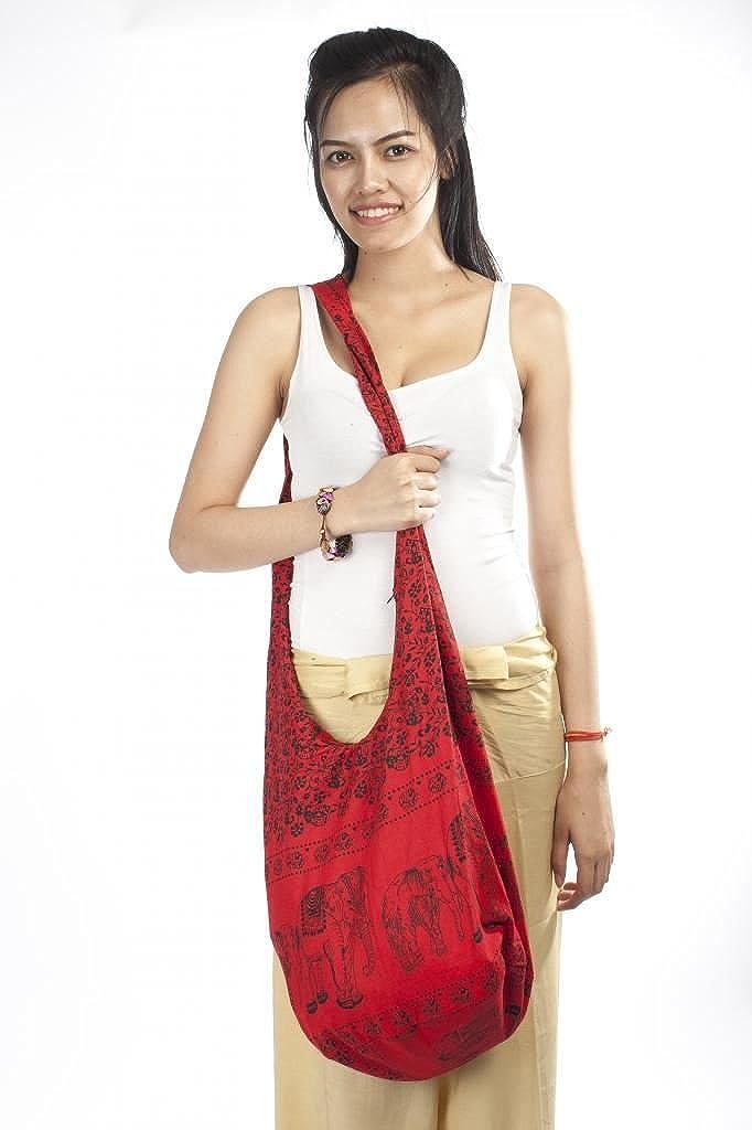 Lofbaz Damen Thai M/önch Buddha Baumwolle Schlinge Umh/änge Messenger Tasche Hippie Boho