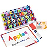 Classroom Magnetic Letters Kit 222 Pcs with Double-Side Magnet Board and Storage Box- Foam Alphabet Letters for Kids Spelling and Learning (ABC Letters)