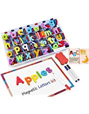 Classroom Magnetic Letters Kit 222 Pcs with Double-Side Magnet Board and Storage Box- Foam Alphabet Letters for Kids Spelling and Learning