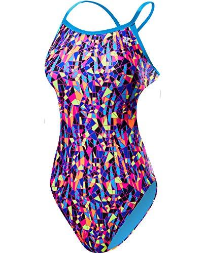 Santa Suit Female (TYR Women's Santa Marta Crosscutfit Tieback Swimsuit, Purple/Yellow,)