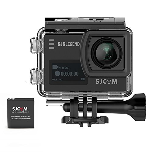 SJCAM SJ6 LEGEND 4K Wifi Action Camera Include 1 Extra Batteries- Dual Screen- 2.0 TouchScreen/0.9 Front LCD Screen 170 Degree Wide Angel Gyro Stabilization External Microphone Supported -Black SJCAM