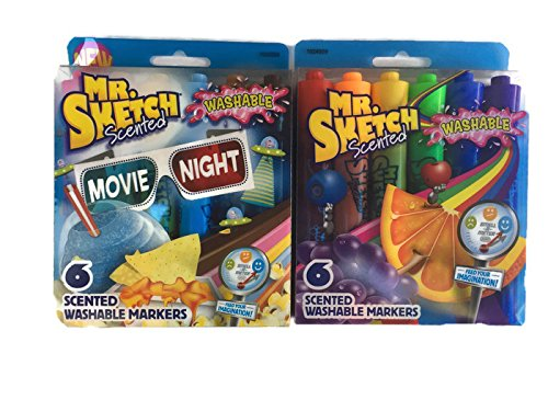 12 Different Scented/Colored Mr. Sketch Washable Markers - (2 packs of 6) (Newell Colored Markers)