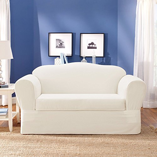 (SureFit Twill Supreme 2-Piece Sofa Slipcover, White)