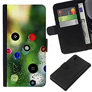 KingStore / Leather Etui en cuir / Sony Xperia Z1 L39 / Diseñador Diseño Ropa Naturaleza Botón
