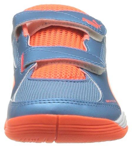Puma Evospeed Indoor 5 2 V Jr - Zapatillas de Deportes de Interior de material sintético niño azul - Bleu (Sharks Blue/Peach/Yellow)