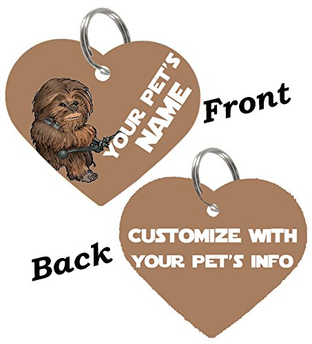 uDesignUSA Disney Double Sided Pet Id Tags for Dogs & Cats Personalized for Your Pet (Chewbacca, Heart Shaped) ()