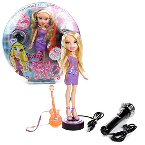 (MGA Entertainment Bratz Neon Pop Divaz Series 10 Inch Doll Playset - CLOE with Light-Up Feature, Guitar, Display Base and Microphone for You)