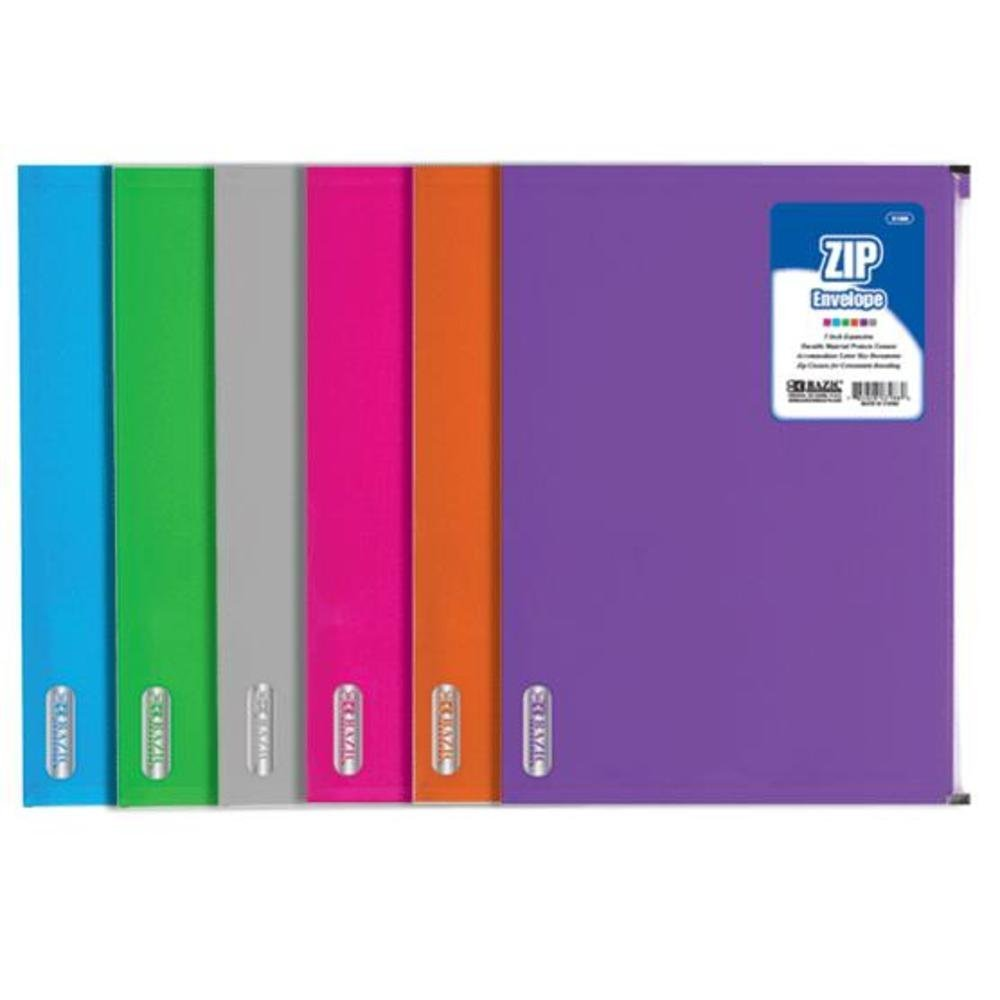 Letter Size Zip Envelope Quantity: Case of 144, Color: Assorted