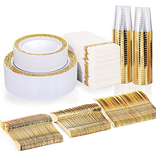 BUCLA 350PCS Gold Plastic Plates with Disposable Plastic Silverware&Hand Napkins, Gold Plastic Dinnerware Lace Design…