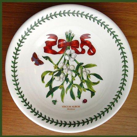 Portmeirion Botanic Garden Mistletoe Christmas 8-inch Individual Pasta Bowl, Set of 4