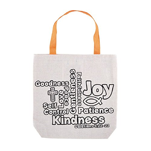 Fruit of the Spirit Color-Your-Own Tote Bag - 12pk by AT001