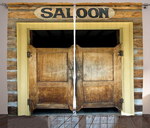 Ambesonne Saloon Decor Collection, Authentic Saloon Doors Of Old Western Building In Montana Ghost Town Image Print, Living Room Bedroom Curtain 2 Panels Set, 108 X 84 Inches, Sienna Cream Brown ()