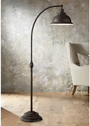 Wyatt II Farmhouse Arc Floor Lamp Dark Bronze Metal Shade Step Switch